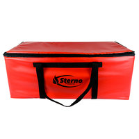 Sterno 70538 Red Extra-Large Insulated Vinyl Pizza Carrier, 36 inch x 18 1/2 inch x 14 inch - Holds (10) 16 inch Pizzas