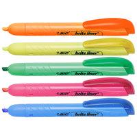 Bic BLRP51ASST Brite Liner Retractable Fluorescent Assorted Color Chisel Tip Pen Style Highlighter   - 5/Set