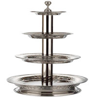 Bon Chef 61102 21 1/2 inch x 24 inch Stainless Steel 4-Tier Stand