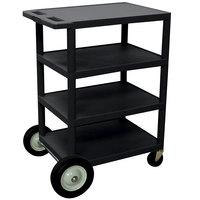 Luxor BCB45-B Black 4 Shelf Serving Cart with Rear Big Wheels - 18 inch x 24 inch x 39 inch