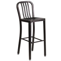 Flash Furniture CH-61200-30-BQ-GG Black-Antique Gold Metal Outdoor Bar Height Chair