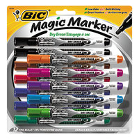 Bic GELIPP121AST Magic Marker Assorted Color Low Odor and Bold Writing Bullet Point Dry Erase Marker - 12/Set