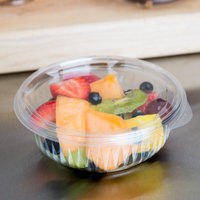Dart C12HBF PresentaBowls 12 oz. Clear Hinged Plastic Bowl with Flat Lid - 300/Case