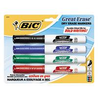 Bic GDEMP41ASST Great Erase Grip Assorted Color Chisel Tip Dry Erase Marker   - 4/Set