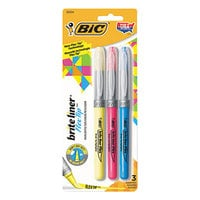 Bic GBLBP31AST Brite Liner Flex Tip Assorted Color Brush Tip Highlighter - 3/Set