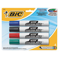 Bic DECP41ASST Great Erase Bold Assorted Color Tank Style Chisel Tip Dry Erase Marker - 4/Set
