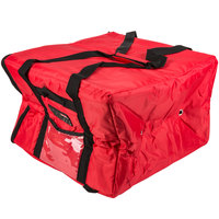 Rubbermaid FG9F3900RED ProServe Large Red Insulated Nylon Delivery Pizza Bag - 19 3/4 inch x 19 3/4 inch x 13 inch