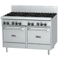 Garland GF48-6G12LL Natural Gas 6 Burner 48 inch Range with Flame Failure Protection, 12 inch Griddle, and 2 Space Saver Ovens - 238,000 BTU