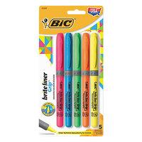Bic GBLP51ASST Brite Liner Grip Assorted Color Chisel Tip Pocket Style Highlighter - 5/Set