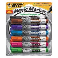 Bic GELITP121AST Magic Marker Assorted Color Low Odor and Bold Writing Chisel Tip Dry Erase Marker - 12/Set