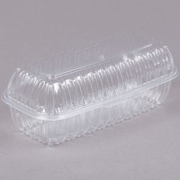 Dart C99HT1 9 7/8 inch x 5 inch x 3 1/2 inch Showtime Clear Hinged Lid Plastic Hoagie Container - 100/Pack