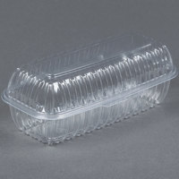 Dart Solo C99HT1 9 7/8 inch x 5 inch x 3 1/2 inch Showtime Clear Hinged Lid Plastic Hoagie Container 100 / Pack