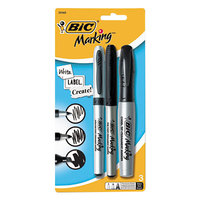 Bic GPMXP31BK Marking Black Permanent Marker Set with Fine, Ultra-Fine, and Chisel Tip - 3/Pack