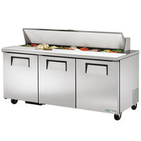 True TSSU-72-18-HC 72 inch 3 Door Refrigerated Sandwich Prep Table
