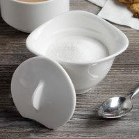 Villeroy & Boch 16-3293-0930 Dune 5.5 oz. White Porcelain Sugar Bowl with Cover - 6/Case