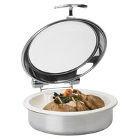 Vollrath 46122 6 qt. Intrigue Glass Top Round Induction Chafer with Stainless Steel Trim and Porcelain Food Pan