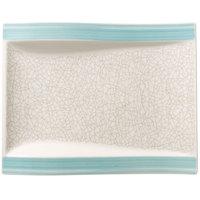 Villeroy & Boch 16-4019-2646 Amarah 10 1/4 inch x 7 5/8 inch Aquamarine Porcelain Flat Rectangular Salad Plate - 4/Case
