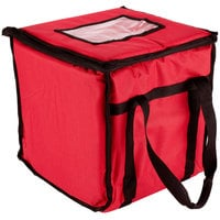 San Jamar FC1212-RD 12 inch x 12 inch x 12 inch Red Insulated Nylon Food Delivery Bag