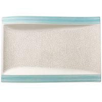 Villeroy & Boch 16-4019-2697 Amarah 14 1/2 inch x 10 inch Aquamarine Porcelain Rectangular Gourmet Plate - 4/Case