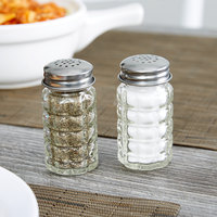 Tablecraft 163S&P 1.5 oz. Nostalgia Glass Salt and Pepper Shaker with Stainless Steel Top - 72/Case
