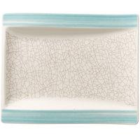 Villeroy & Boch 16-4019-2660 Amarah 7 inch x 6 inch Aquamarine Porcelain Flat Rectangular Plate - 4/Case
