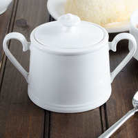 Villeroy & Boch 16-3272-0960 Stella Hotel 12 oz. White Bone Porcelain Sugar Bowl with Cover - 6/Pack