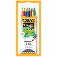 Bic PGEP81 Xtra Fun Assorted Two-Tone Barrel Color 0.7mm HB Lead #2 Pencil - 8/Pack