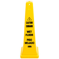 Rubbermaid FG627677YEL 36 inch Yellow Bilingual Wet Floor Cone-Shaped Sign - Caution Wet Floor