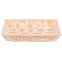 Tablecraft 1189W 16 3/8 inch x 11 3/8 inch Rectangular Woven Rattan-Like Basket   - 6/Pack