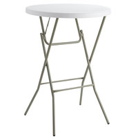 Lancaster Table & Seating 32 inch Round Granite White Heavy Duty Blow Molded Bar Height Plastic Folding Table