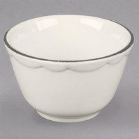 7.25 oz. Ivory Scalloped Edge China Bouillon Bowl with Black Band - 36/Case