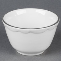 CAC SC-4B Seville 7.25 oz. Ivory Scalloped Edge China Bouillon Bowl with Black Band - 36/Case