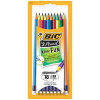 Bic PGEP181 Xtra Fun Assorted Two-Tone Barrel Color 0.7mm HB Lead #2 Pencil - 18/Pack