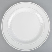"WNA Comet MP10WSLVR 10 1/4"" White Masterpiece Plastic Plate with Silver Accent Bands - 12/Pack"
