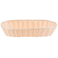 Tablecraft 1118W 15 inch x 6 inch Oblong Woven Rattan-Like Basket - 12/Pack