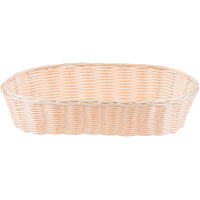 Tablecraft 1113W 13  x 5 inch Oblong Woven Rattan-Like Basket - 12/Pack