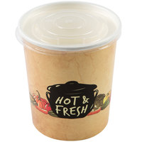 Choice 32 oz. Medley Double Poly-Coated Paper Soup / Hot Food Cup with Vented Plastic Lid - 250/Case