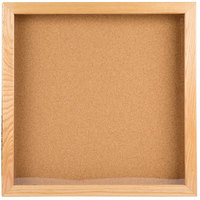 Aarco OBC2424S 24 inch x 24 inch Enclosed Hinged Souvenir and Memorabilia Display Case with Natural Oak Finish