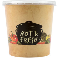 Choice 16 oz. Medley Double Poly-Coated Paper Soup / Hot Food Cup with Plastic Lid - 250/Case