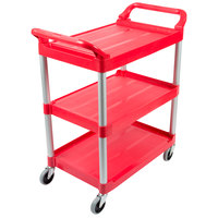 Rubbermaid FG342488RED Red Three Shelf Utility Cart / Bus Cart 33 x 18 x 37