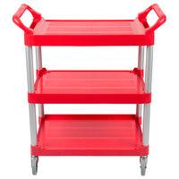Rubbermaid FG342488RED Red Three Shelf Utility Cart / Bus Cart 33 x 18 x 37