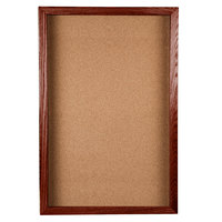 Aarco CBC3624S 36 inch x 24 inch Enclosed Hinged Souvenir and Memorabilia Display Case with Cherry Finish