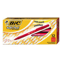 Bic SGSM11RD Soft Feel Red Ink with Red Barrel 1mm Stick Ballpoint Pen - 12/Pack