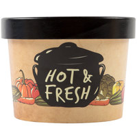 Choice 12 oz. Medley Double Poly-Coated Paper Soup / Hot Food Cup with Vented Paper Lid - 250/Case