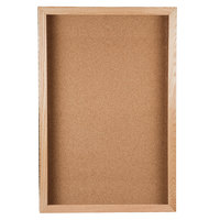 Aarco OBC3624S 36 inch x 24 inch Enclosed Hinged Souvenir and Memorabilia Display Case with Natural Oak Finish