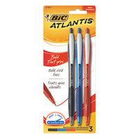 Bic VCGBP31AST Atlantis Bold Assorted Ink 1.6mm Retractable Ballpoint Pen - 3/Set