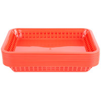 Choice 12 inch x 8 1/2 inch x 1 1/2 inch Red Rectangular Plastic Fast Food Basket - 12/Pack