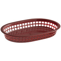 Choice 11 inch x 7 inch x 1 1/2 inch Brown Oval Plastic Fast Food Basket - 12/Pack