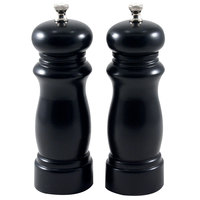 Chef Specialties 06302 Professional Series 6 inch Customizable Salem Ebony Finish Pepper Mill and Salt Mill Set