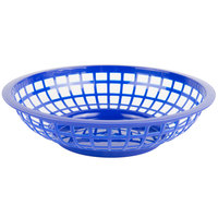 Choice 8 inch x 2 inch Round Blue Plastic Fast Food Basket - 12/Pack